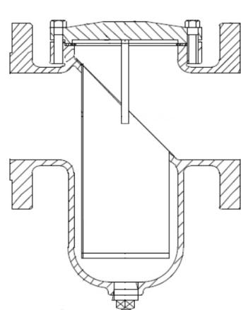 Simplex strainer with angled basket design