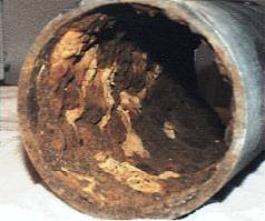 Inside a corroded HVAC pipe