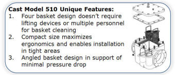 Eaton model 510 cast simplex strainer attributes