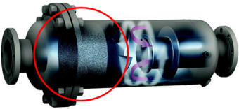 Cutaway of a coalescer separator
