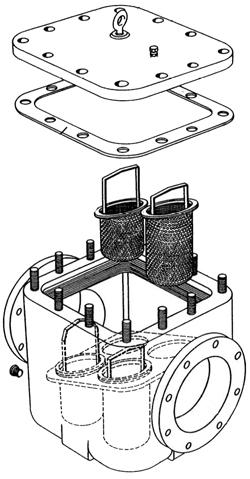 Cutaway of model 510 simplex strainer